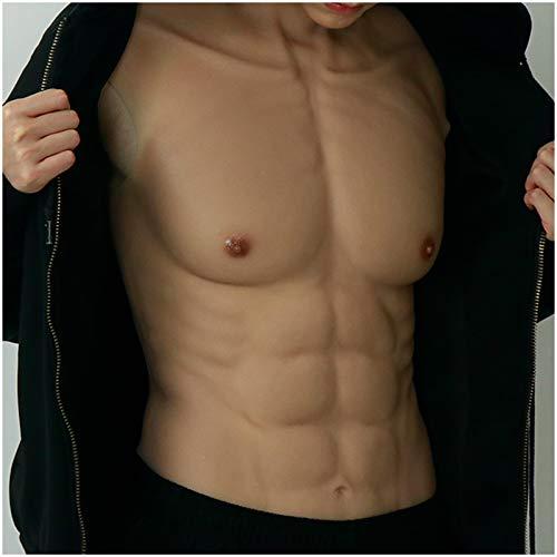 WJH9 Gefälschte Musles Kostüm, männliche Brust-Silikon-Muskelanzug, High Collar-künstlicher gefälschter Muskel-Bauchkörper für Halloween-Requisiten Cosplay Maskerade-Kostüm
