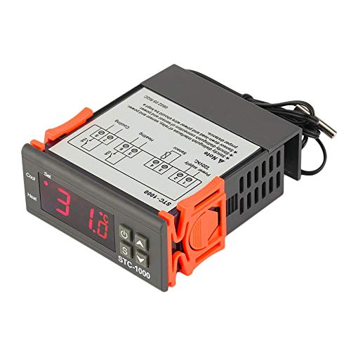 JZK STC-1000 220V termostato digitale con sensore NTC sonda impermeabile, 4 funzione: raffreddamento riscaldamento correzione temperatura singolo sensore, per stufetta refrigeratori frigorifero acquario caldaia vapore
