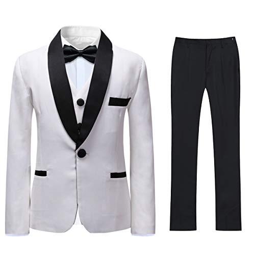 Boyland Boys 3 Pieces Tuxedo Suits Slim Fit Peak Lapel Jacket Tux Vest Pants Party Wedding