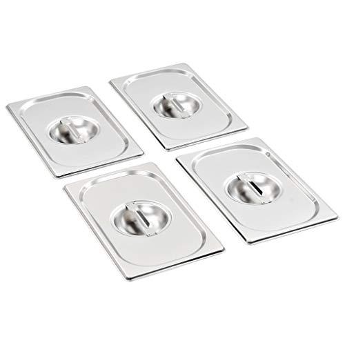vidaXL 4X GN Deckel Strapazierfähig Gastronormbehälter Abdeckung GN-Behälter Gastronorm Gastronormdeckel GN 1/4 265x162mm Edelstahl Gastro Gefäß Norm