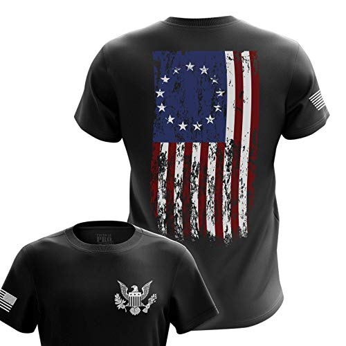 U.S Flag Patriotic Military Army Mens T-Shirt Printed & Packaged in The USA, 76 Flag Large