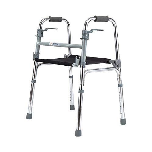 Hyxqyzbq Opklapbare loophulp, voor ouderen, in hoogte verstelbaar, zitting met zitting, geschikt voor mindervaliden en postoperatieve revalidatiepersonen, lichte aluminiumlegering