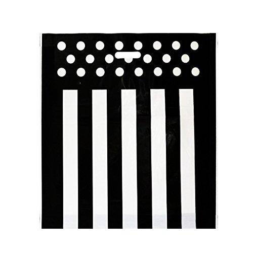 Complete Retail Solution Ltd Bolsa de plástico para Compras de 22 x 21 Pulgadas + 4, Color Negro, con asa troquelada, Regalo de diseñador, Resistente (Paquete de 100)