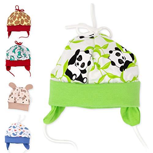 Baby Sweets Unisex Baby Mütze für Mädchen und Jungen als Erstlingsmütze im Panda-Motiv/Bio-Babymütze, 68, Grün - Happy Panda
