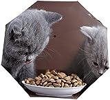 Ombrello manuale a tre pieghe Piccolo gatto grigio che mangia cibo per gatti Nano Ombrello pieghevole a tre ante di grande diametro Protezione solare che copre sole e pioggia