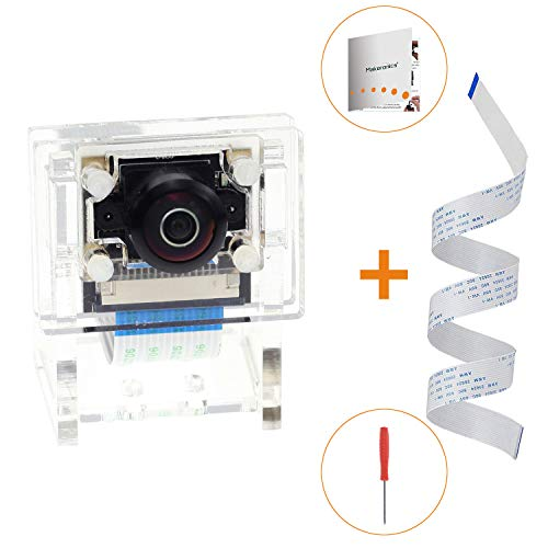 Makeronics IMX219-160 Camera Module for Jetson Nano with Transparent Camera Case | 3280 × 2464 Resolution 8 Megapixels 160 Degree Angle of View IMX219 Sensor |Assembly Instruction Included
