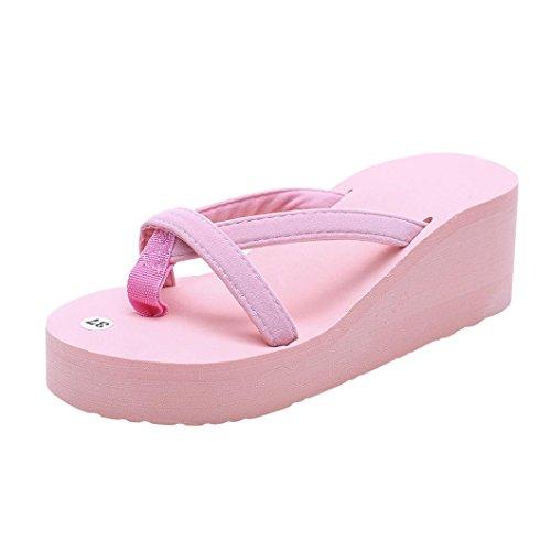FNKDOR Damen Sommer Keilabsatz Zehentrenner Plateau Flip Flop Strand Sandalen Schuhe Pantoletten (41.5, Pink)