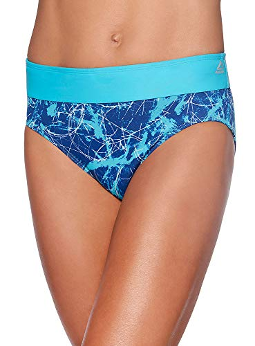 Reebok Lifestyle Women's Swimwear Marble Abstraction Drawcord Brief Bathing Suit Bottom, Cobalt, Large