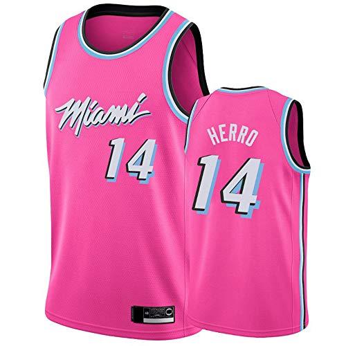 Jerseys De Baloncesto De Los Hombres, NBA Miami Heat # 14 Tyler Herro - Camiseta Clásica De Ropa Sin Mangas, Tops De Uniformes De Tela Confort,Rosado,S(165~170CM)