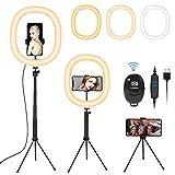 Fostoy Ring Light, Anillo de Luz para Selfies con Trípode Versátil y Soporte para Teléfono, con 3 Colores y 10 Niveles de Brillo para Videos de Youtube, Tiktok, Maquillaje (12inch)