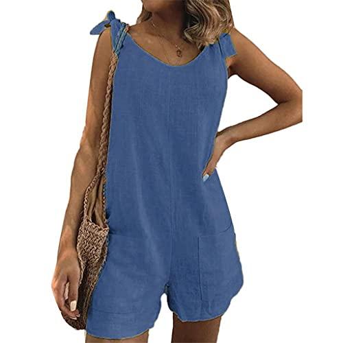 GFDFD Mujeres de Color sólido sin Mangas Correas Ajustables Bolsillos Sueltos Mono de Mono Suena Suave y cómodo (Color : Blue, Size : Lcode)