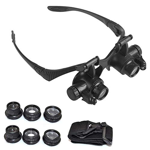 QINGJIA 10X 15X 20X 25X LED Gafas Lupa joyería relojero Lente óptica Cinta de Cabeza de la Lupa Lupa Lupa Lectura/Obeservación/Reparación (Color : Black)