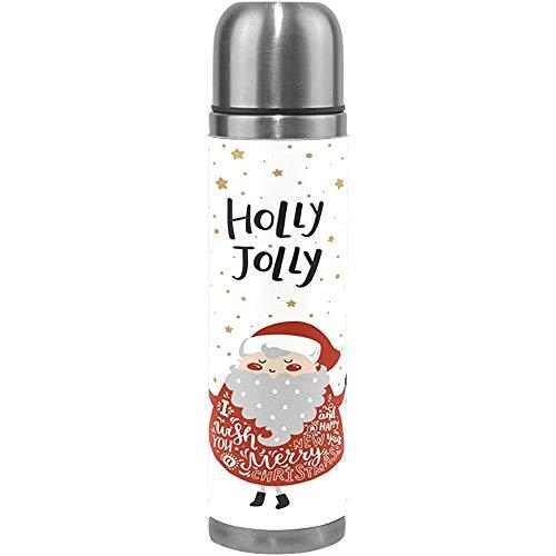 Elroy Gibbon Thermos cup Thermosflasche-Holly Jolly Santa Edelstahl-Wasserflasche Vakuumisolierte Thermosflasche Mit Leder Umwickelter Deckel Hält Die Getränke Warm Und Kalt