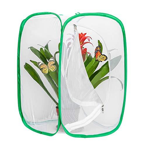 Hautton Insekten und Schmetterlings Habitat käfig Schmetterlingshäuse, Zusammenklappbarer Insektenkäfig 23,6 Zoll groß –Weiß