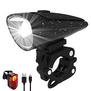 Antimi Akku Fahrradlicht Led Set Fahrradbeleuchtung USB Aufladbar StVZO Zugelassen USB Fahrradlampe Fahrradlichter mit 2 Licht-Modi