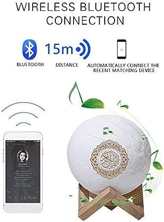 Urstory1 Moonlight Koran Sound Player Für Muslimische Menschen Quran Bluetooth Lautsprecher Mit Led Mondlampe Kabelloser Koran Lautsprecher Mit Touch Wechsel 7 Farben Atmungslampe Küche Haushalt