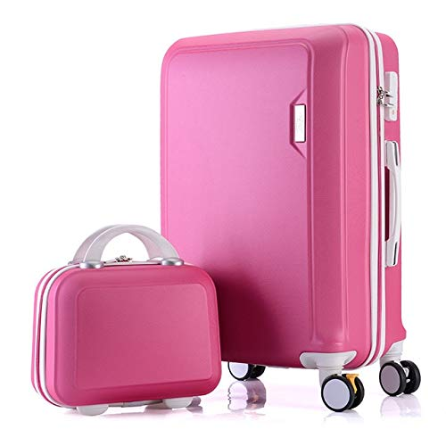 "Mdsfe Juego de Maletas de ABS + PC Maleta de Viaje con Ruedas Maleta de Equipaje de Mano Maleta de Cabina Bolso de Mujer Rueda giratoria de Equipaje rodante - Conjunto Rojo Rosa, 24"""