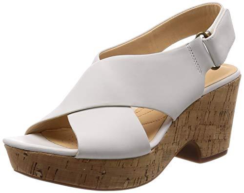 Clarks Damen Maritsa Lara Riemchensandalen, Weiß (White Leather), 40 EU