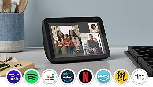 Nouvel Echo Show 8 (2e génération, modèle 2021) | Écran connecté HD avec Alexa et caméra 13 Mpx | Anthracite