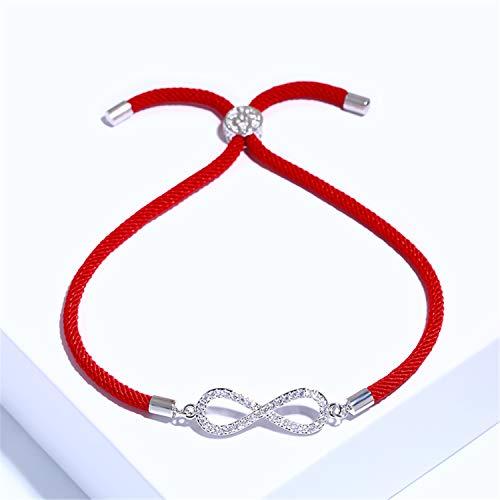 Pulsera Brazalete, Joyeria Regalo, New Zircon Infinity Bracelets For Women Girls Red Thread Bracelet Adjustable Women Jewelry Pulseras Mujer Brt-A66 Silver (Red Rope)