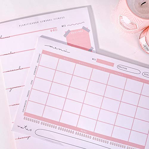 Planificador semanal + Menú semanal saludable | Organizador de semana en A4 papel para sobremesa