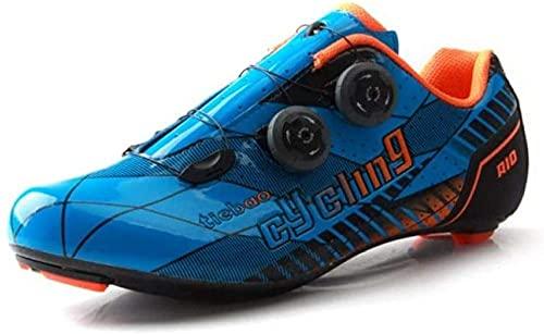 CHUIKUAJ Calzado de Ciclismo para Hombre - Calzado de Bicicleta de Carretera,Calzado de Bicicleta de Montaña Transpirable para Ciclismo de Carretera en Interiores,Blue-41EU