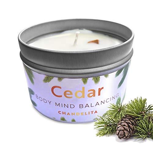 candele profumate biologiche CHANDELITA Candela per Aromaterapia Profumata alla Cedro per Pulire L'energia