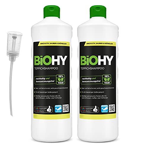 BiOHY Shampoing pour Tapis (2 x 1l Bouteille) + Distributeur | Shampooing pour Tapis concentré Bouteille de 1 Litre | Nettoyant pour Tapis idéal pour éliminer Les Taches tenaces (Teppichshampoo)