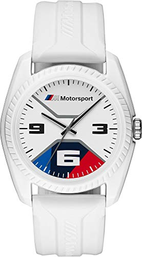 BMW M Motorsport - Thee-handhorloge voor heren met witte siliconen band - BMW1004