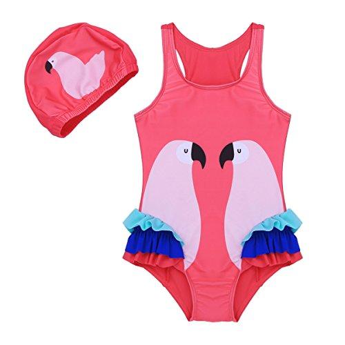 ranrann Traje de Baño Una Pieza con Gorro para Niña Bañador Impresión de Flamingo Monokini Body de Playa Piscina Natación Vacaciones Swimwear Rosa Oscuro 2-3 Años