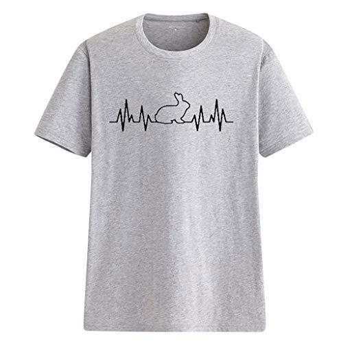 Zegeey Damen T-Shirt Oberteil Kurzarm Kaninchenherz Drucken Sommer Blusen Tops Shirts Pullover LäSsige Lose Weiß Rosa Gelb Grau(Grau,36 DE/S CN)