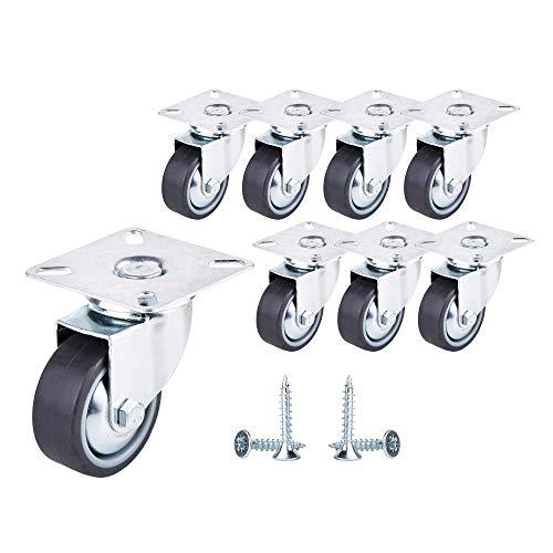 Ruedas giratorias de alta calidad de 50 mm de goma suave para muebles con placas de montaje, ruedas de rotación completa, ruedas industriales, diseño moderno (8, sin frenos)