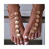 Drecode Boho Layered Ankle Bracelets Gold Coin Carved Foot Chain Multilayered Summer Sandbeach Party Anklet Feet Accessories Jewelry for Women and Girls