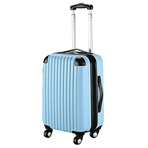 Goplus 20' ABS Carry On Luggage Expandable Hardside Travel Bag Trolley Rolling Suitcase GLOBALWAY (Light Blue)
