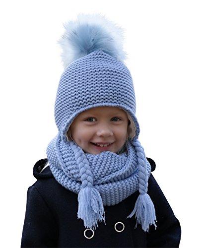 Hilltop 100% algodón: Conjunto de invierno para niños conjunto de bufanda redonda y gorro con orejeras a juego. Para niños con edades de 1, 1/2 a 3 años de edad, 2D-azul bebé