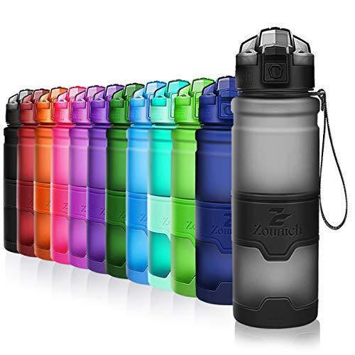 ZOUNICH Trinkflasche Sport BPA frei Kunststoff Sporttrinkflaschen für Kinder Schule, Joggen, Fahrrad, öffnen mit Einer Hand Trinkflaschen Filter, Grau, 17oz/500ml