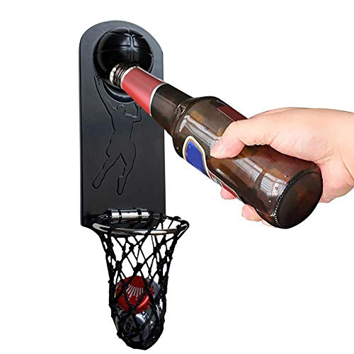 Abrebotellas de metal magnético Bar Colgante de pared para el hogar Abrebotellas de baloncesto imán de nevera destornillador de cerveza tapa de aro de baloncesto creativo