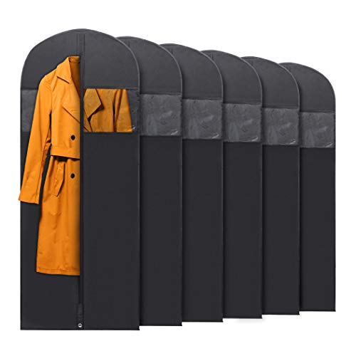 """PLX Hanging Garment Bags for Storage and Travel – Suit Bag Dress Shirt Coat and Dress Cover with Window and Zipper Set 6 Pack Black 60"""" x 24"""""""