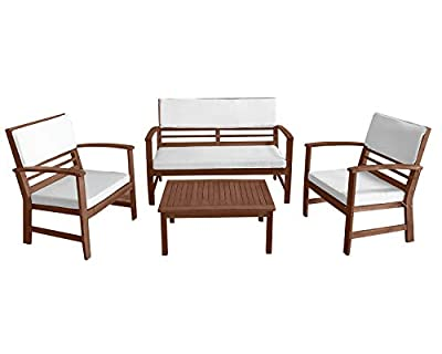 FDW Patio Conversation Set Patio Sofa Set Outdoor Chat Set 4-Piece Acacia Wood Outdoor Seating Set with Water Resistant Cushions and Coffee Table for Pool Beach Backyard Balcony Garden,Natural Oiled