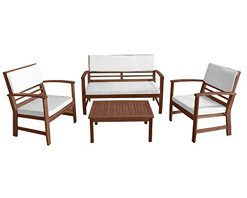 Patio Conversation Set Patio Furniture Patio Sofa Set Outdoor Chat Set 4-Piece Acacia Wood Outdoor Seating Set with Water Resistant Cushions and Coffee Table for Pool Beach Backyard Balcony Garden