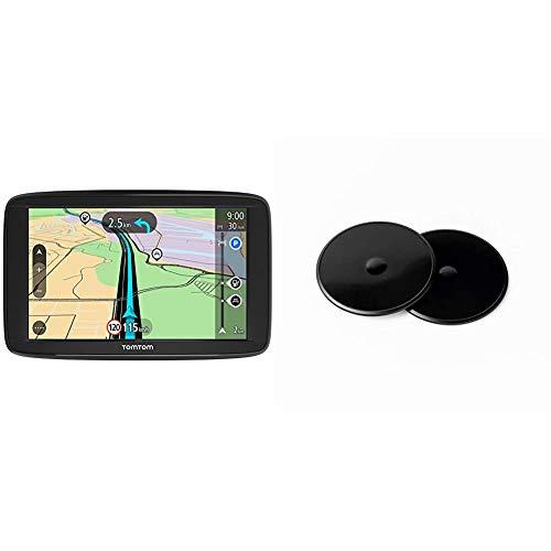 TomTom GPS para Coche Start 62, 6 Pulgadas, mapas de la UE, Prueba Gratuita de Alerta de radares, Soporte Reversible Integrado + Discos Adhesivos de salpicadero de para Todos los Modelos
