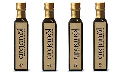 1000 ml (4 x 250 ml) BIO Arganöl ungeröstet. kaltgepresst 100 % rein, Direktimport aus Marokko. DE-Öko-037