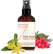 PMS Magnesium Relief Spray - Natural Menstrual Cramp Relief And PMS Support With Ionic Magnesium Chloride And USDA Organic Essential Oils (Clary Sage, Sweet Marjoram, Ylang Ylang, Geranium) 4 oz