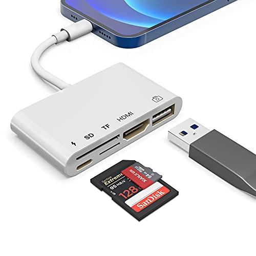 Yeemie Adaptador Lighting a HDMI, 5 en 1 Conector HDMI 1080P, Lector de Tarjetas SD/TF Adaptador de iluminación de cámara USB y Puerto de Carga, Compatible para teléfono/Pad a TV/Proyector