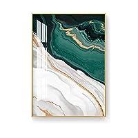 XIANRENGE ポスター 北欧グリーンゴールド箔絵画モダン抽象スタイルアイビングルーム豪華な装飾アートキャンバスポスター印刷写真アート-50x70cmx1フレームなし