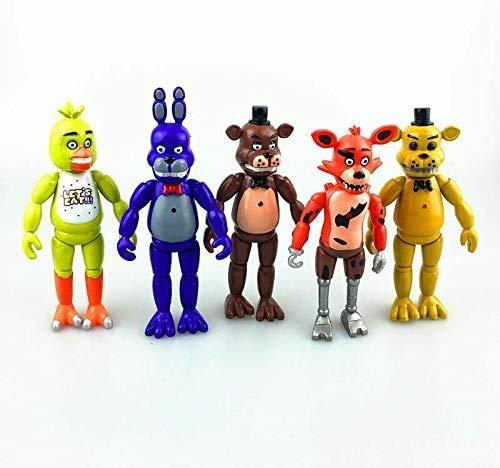 unbrended Set of 5 pcs FNAF Action Figures Toys Dolls Gifts Cake Toppers, 6 inches