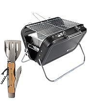 Valiant Bärbar hopfällbar picknick och campinggrill med tillbehör för flera verktyg