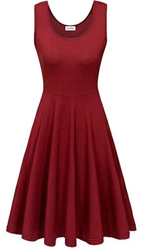 KorMei Damen Ärmelloses Beiläufiges Strandkleid Sommerkleid Tank Kleid Ausgestelltes Trägerkleid Knielang Weinrot S