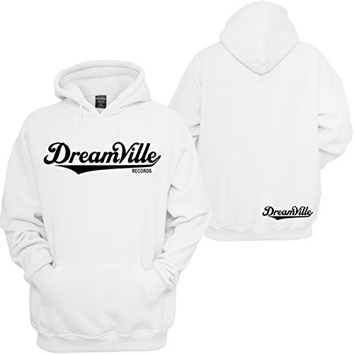 Dreamville Records Hoodie J Cole World Born Sinner TDE Rattpack Rap Music Hooded Sweatshirt (L, White)