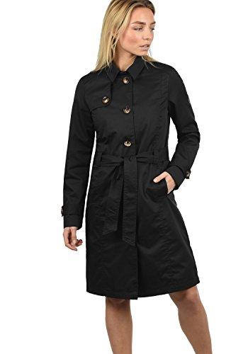 DESIRES Thea Damen Trenchcoat Mantel Übergangsjacke mit Reverskragen und Gürtel, Größe:L, Farbe:Black (9000)